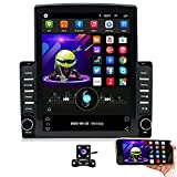 Hikity Double Din Android Car Stereo 9.7 Inch Vertical Touchscreen Bluetooth FM Radio Support WiFi Connect Mirror Link for Android/iOS Phone + Dual USB Input & 4 LEDs Backup Camera