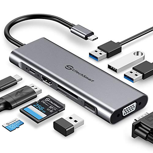 UtechSmart USB C Hub, 11 in 1 USB C Adapter with Gigabit Ethernet Port, PD Type C Charging Port, 4K HDMI, VGA, SD TF Card Reader, 4 USB Ports and Audio Mic Port Compatible for MacBook, ChromeBook More