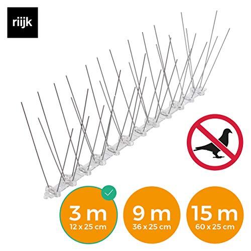 riijk 3 Meter vormontierte & tierschutzkonforme Taubenabwehr: Rostfreie Vogelspikes als Vogelabwehr undVogelschutz
