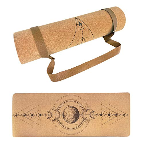 Yoga Mat, Ecological Cork Non-Slip Sport Mat, 183x65cm, 6mm Thick, Yoga Mat, for Pilates, Fitness, Includes Carrying Strap