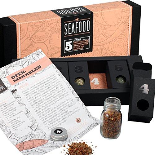 Fischgewürze – MeinGenuss Gewürzset Seafood – Das perfekte Geschenkset für Geniesser – Originelles Geschenk für Fischliebhaber – 5 Gewürze und Kräuter mit Rezepten
