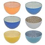 CREOFANT Lot de 6 bols à céréales multicolores - Bol à fruits, bol à soupe, bol à glace, bol à ramenbowl - Bol coloré en céramique - Bol en céramique
