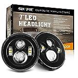 Sunpie Black 7' Round LED Projection Headlights Kit for Jeep Wrangler Jk TJ LJ Rubicon Sahara Willys Hummer H1 H2