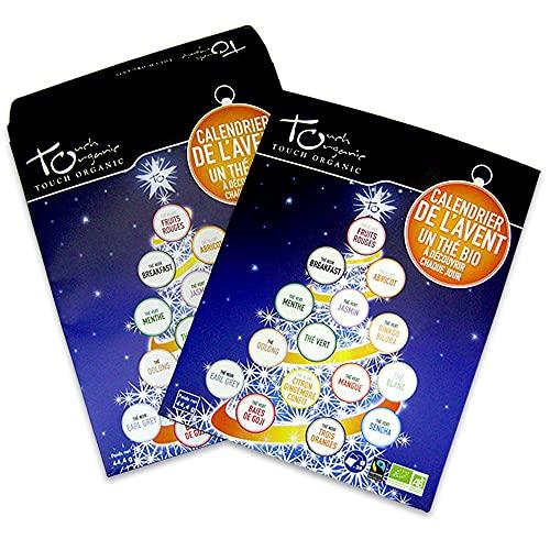 TOUCH ORGANIC | Calendario avvento thè bio (tea advent calendar) | 24 bustine per 15 gusti | Certificato biologico & Commercio equo e solidale | Calendario dell'avvento con bustine