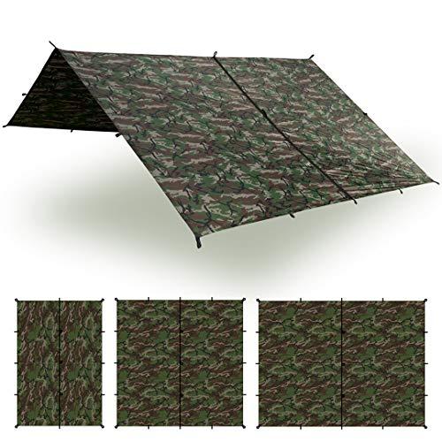 Aqua Quest Safari Tarp - 100{dab9c9de224c8c5dacca633b5a5c756ce20d337fc21e33ad20b4ba03ab58e76a} wasserdichtes leichtes SilNylon Bushcraft Camping Obdach - 3x2, 3x3, 4x3, 6x4 m - Olivgrün, Camo/Tarnung oder mit Zubehör Kit (Camo/Tarnung, 3 x 3 m)