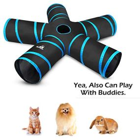 Pawaboo-Cat-Toys-Cat-Tunnel-Tube-5-Way-Tunnels-Extensible-Collapsible-Cat-Play-Tent-Interactive-Toy-Maze-Cat-House-with-Balls-and-Bells-for-Cat-Kitten-Kitty-Rabbit-Small-Animal-Black-Light-Blue