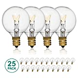 25-Pack String Light Bulbs, LEDESIGN 5 Watt G40 Globe Light Bulbs, G40 Clear Replacement String Light Bulbs with Candelabra Screw Base, Fits E12 and C7 Sockets, Indoor-Outdoor Use, 1.5-Inch