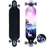 Longboard édition spéciale Board Complet y Inclus Outil en Forme de T,Érable Canadien 8 Plis, Roulements à Billes ABEC-11 High Speed, Drop-Through Freeride Skaten Cruiser Boards
