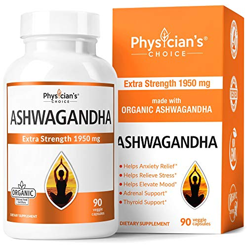 Ashwagandha 1950mg Organic Ashwagandha Root Powder Extract of Black Pepper Anxiety Relief, Thyroid Support, Cortisol & Adrenal Support, Anti Anxiety Supplements 90 Veggie Capsules