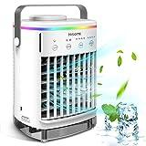 Condizionatore D'aria Portatile, Hisome Air Cooler Refrigeratore d'aria 5 in 1, Umidificatore Purificatore Diffusore di Aromi USB con 4 Velocità e 7 Colori 4 Timers, Adatto per l'Home Office