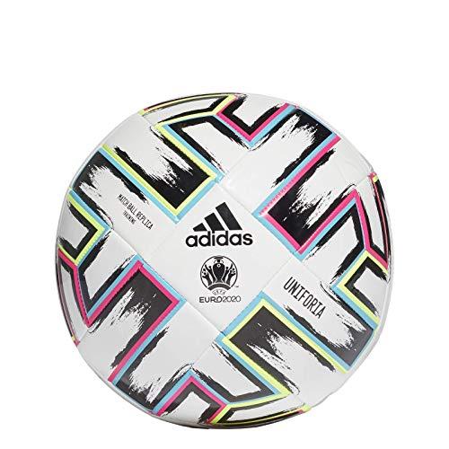 adidas Men\'s UNIFO TRN Soccer Ball, White/Black/Signal Green/Bright Cyan, 5