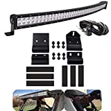 Dasen LED Light Bar Mounting Brackets Windshield w/Pro-Fit Cage Upper Roof Wiring Kit 50'...