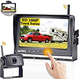 AMTIFO A8 HD 1080P Wireless Backup Camera with 7 Inch DVR Monitor Rear View Camera System for RVs,Trailers,Trucks,5th Wheels,Support 4 Cameras for DIY Adapter Compatible with Furrion Pre-Wired RV