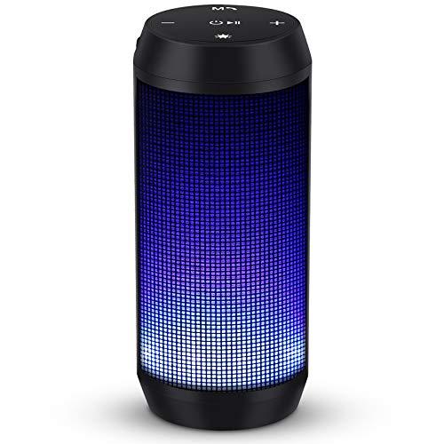 Enceinte Bluetooth Portable Lumineuse Haut-Parleur Bluetooth sans Fil avec LED Lumière Fonction TF Carte TEL ELEHOT