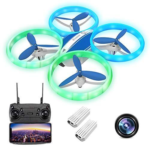 EACHINE E65HW Drone con Telecamera 1080P Mini Drone per Bambini Adatto per Principianti Funzione di Sospensione Altitudine Headless Mode 3D Flip Luce a LED ( Blu) (Contiene Due batterie)
