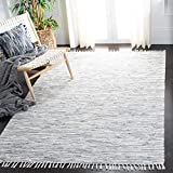 Safavieh Montauk Collection MTK753A Handmade Flatweave Silver Cotton Area Rug (5' x 8')