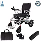 Innuovo Foldable Electric Power Wheelchair, Heavy Duty, Adjustable Speed for Outdoors or Indoors, Tall Backrest, Wide Seat, Fits any Car Trunk, Safe for Air Travel, Cover Bag Included, W5521 Silver