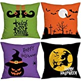 Set of 4 Halloween Pillow Cases Pumpkin Witch Throw Pillow Covers Autumn Spider Web Tombstone Black Cat Decorative Trick or Treat Cushion Case Cotton Linen Cushion Cover (18'x18')