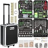 TecTake Set de herramientas (1200 piezas) en maletín carrito portaherramientas de aluminio