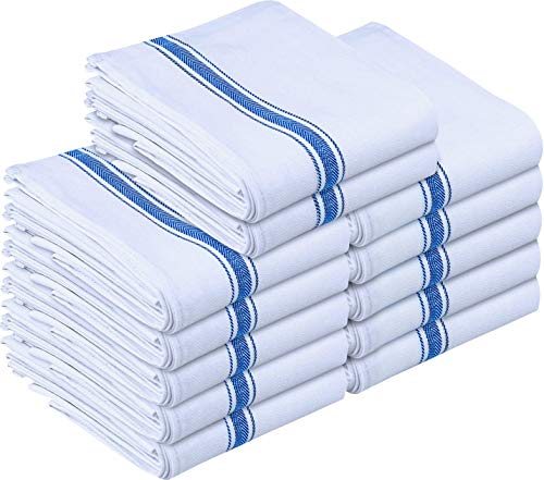 Utopia Towels 12 Pack Dish Towels - Reusable Kitchen Towels -15 x 25 Inches Ultra Soft Cotton Dish Cloths - Super Absorbent Cleaning Cloths, Blue