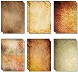 60 feuilles de papier parchemin vintage (6 motifs, 10 de chaque) A4 à partir de...