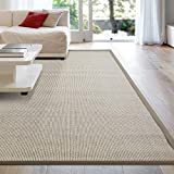 iCustomRug Zara Synthetic Sisal Collection Area Rug and Custom Size Runners, Softer Than Natural Sisal Rug, Stain Resistant & Easy to Clean Beautiful Border Rug in Beige 9' x 12'