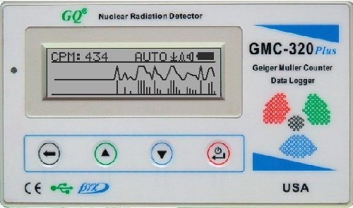 Contador Geiger Mueller GQ GMC-320 Plus Geiger Counter Nuclear Radiation Detector Meter Beta Gamma X ray Europe wall charger