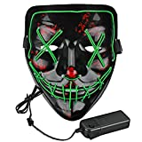 Lumiere Halloween Scary LED Purge Mask for Festival, Party, (Green)