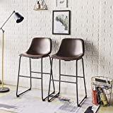 Rfiver Pu Faux Leather Bar Stools Set of 2, Industrial Pub Barstools with Back and Footrest, Modern Armless Bar Height Stool Chairs, Brown