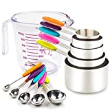 Measuring Cups and Spoons Set 11 Piece. Includes 10 Stainless Steel Measuring Spoons and Cups Set and 1 Plastic Measuring Cup. Liquid Measuring Cups Set and Dry Metal Measuring Cup Set