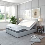 Classic Brands Adjustable Comfort Upholstered Adjustable Bed Base with Massage, Wireless Remote, Three Leg Heights, and USB Ports-Ergonomic, Black , Twin XL - 126010-5020