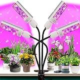 Luz de crecimiento para plantas de interior  Versin actualizada 80 lmparas LED con espectro completo y espectro azul rojo, temporizador 3/9/12H, 10 niveles regulables, cuello de cisne ajustable