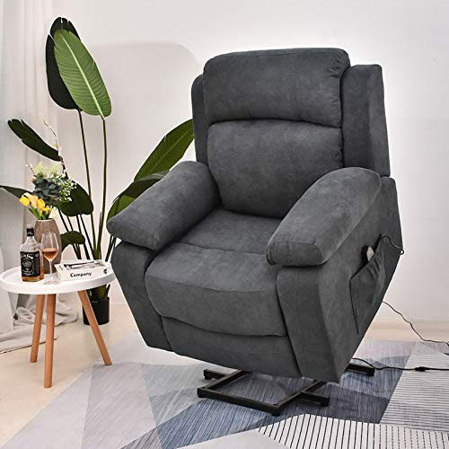Power Lift Recliner Chair with Massage and Heat, Electric Recliners for Elderly, Fabric Heated Vibration Massage Sofa Living Room Chair with USB Ports, Remote Control, 3 Positions, 2 Side Pockets