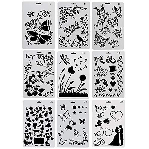 Sinblue 9 Stück Schablonen Kunststoff, Zeichnungs Schablonen Set, Motiv Tiere (Insekten, Vögel, Schmetterlinge), Malerei, wiederverwendbar, biegsam, für Scrapbooking, Geburtstagskarten, Wanddekoration
