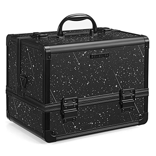 SONGMICS Kosmetikkoffer, Schminkkoffer, Make-up Aufbewahrung, Organizer für die Reise, für Friseure und Visagisten, Nähzubehör, abschließbare Box mit Tragegurt, 30 x 20 x 23 cm, schwarz JBC324BK