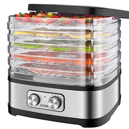 Essiccatore frutta e verdura OSTBA,5 vassoi,Disidratatore per Alimenti,Essiccatore Alimentare,Temperatura regolabile(35  C-70  C), Timer di 72 ore, 240 W