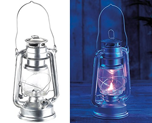 Lunartec LED Laterne: LED-Sturmleuchte im Öllampen-Design, Flammen-Imitation, silberfarben (LED Sturmlaternen)