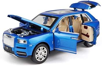 wangch 1/24 Scale Rolls-Royce Cullinan Metal Car Toy Alloy Car with Lights   High Simulation   Scale 1:24Blue
