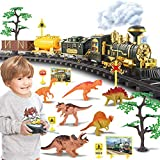 Train Set, Updated Large Remote Control Electric Train Toy for Boys Girls w/ Smokes, Lights & Sound, Railway Kits w/ Steam Locomotive Engine, Cargo Cars & Tracks, for 3 4 5 6 7 8+ Year Old Kids