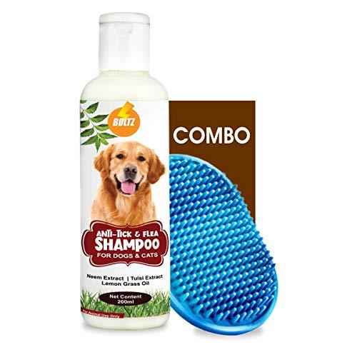 Boltz Anti Tick & Flea Dog Shampoo with Neem,Lemongrass & Tulsi-200 ml with Bath Brush Free (Brush...