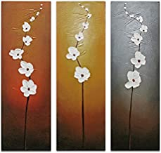Wieco Art 3 Piece White Flowers Oil Paintings on Canvas Wall Art for Living Room Bedroom..