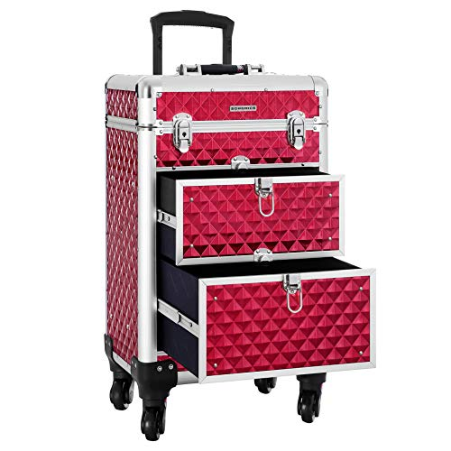 SONGMICS SONGMICS valise de maquillage ABS Rouge 34 x 27 57 cm JHZ08RD Beauty Case da viaggio, cm,...