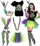 Mardi Gras Party Themed T-Shirt Costume With Set Masquerade Mask Tutu Skirt (L/XL, Mardi Gras A)