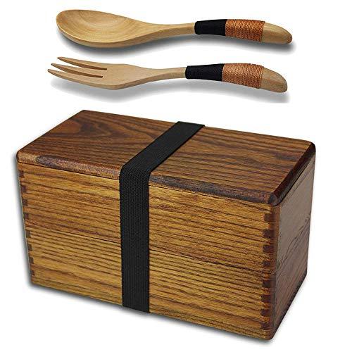 AOOSY Lunch Box Bento Box Fiambrera Japonesa tradicional de madera natural caja de...