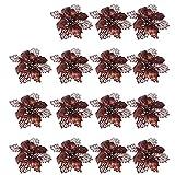 Shengruili 15Piezas Navidad Brillo Flor de Pascua,Adorno Brillo Artificial Navidad Flores,Flor de Pascua de Brillo Artificial,Brillante Flores de rbol de Navidad Colgantes,Poinsettia Adorno (Red)