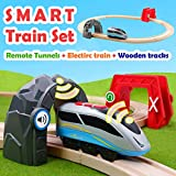 Battery Locomotive Train with Circuit Track & 2 Smart Action Tunnels - 13 Piece Train Toy with Accessories and Wooden Tracks for Kids Age 3 and Up