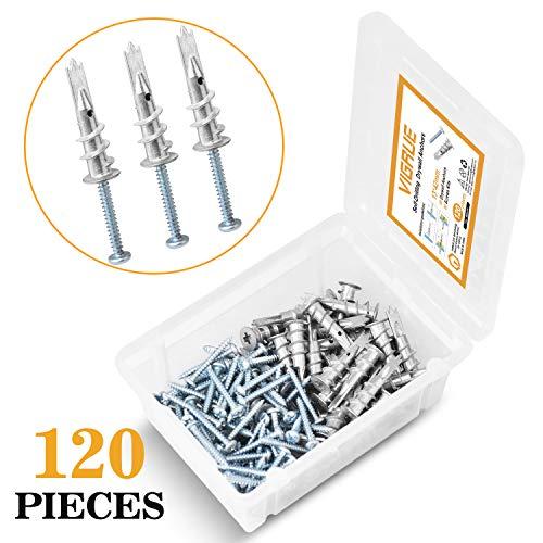 VIGRUE Zinc Self Drilling Drywall Anchors, Hollow-Wall Anchors M4 Screws Assortment Kit, 120pcs All Together (60pcs Self Drilling Anchors + 60pcs Self Tapping Screws)