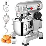 Happybuy Commercial Food Mixer 10Qt 450W 3 Speeds Adjustable 110/178/390 RPM Heavy Duty 110V with Stainless Steel Bowl Dough Hooks Whisk Beater Premium for Schools Bakeries Restaurants Pizzerias