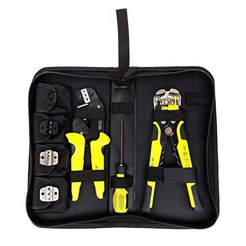 Crimpzangen Abisolierzange Set, Meterk 4 In 1 Kabelschuhzange Set mit Aderendhülsenzange, Ratschen-Terminal 0,2 bis 6.0 mm² und Auswechelbarem Crimpwerkzeug