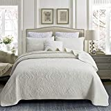 Brandream Cream White Quilt Set Cotton Queen King Size Bedspread Coverlet Set Luxury Quilted Comforter Sets Damask Embroidery Lightweight